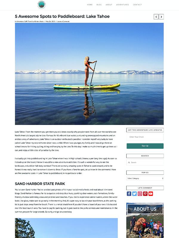 this adventure life website design
